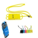 Custom Silicone neck lanyard cell phone holder with card sleeve, 4 3/4