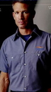 Custom Blue / Charcoal Men's Long Sleeve Micro-Check Work Shirt