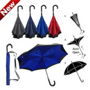 Custom Inverted / Reversed Double Layer Auto Open Straight Umbrella with Curved Leather Handle, 30.5