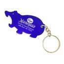 Custom Hippo Aluminum Bottle Opener With Key Chain (9 Week Production), 2 3/8