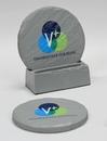 Custom 2-Piece Round Shale-Texture Coaster Set w/Base (UV Print), 4