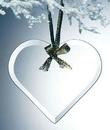 Custom Alicia Beveled Economy Heart Ornament w/ Gold Ribbon - Jade Glass
