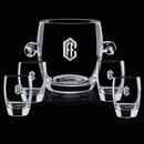 Custom Crystal Belfast Ice Bucket and 4 On the Rocks Glasses
