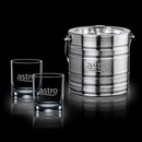 Custom 3 Piece Milano Ice Bucket W/ 2 Aristocrat On The Rocks Glasses