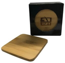 4 Piece Square Bamboo Coaster Gift Set
