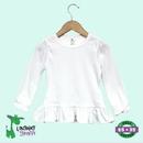 Custom White Toddler Girls Long Sleeve Top w/Ruffle Hem - The Laughing Giraffe