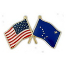 Custom Double Alaska & USA Crossed Lapel Pin