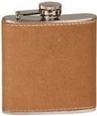 Custom 6 oz. Leather Stainless Steel Flask, 3 3/8