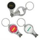 Custom Round Nail Clipper w/Bottle Opener Keyring, 2.25