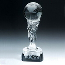 Custom Optical Crystal Athena Globe Trophy (Sandblasted), 4 3/4