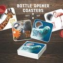 Custom 4 Magnetic Coaster With Bottle Opener Set, 3.35