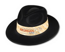 Velour Black & White Fedora Hat w/ Custom Printed Paper Band