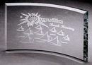 Custom Extreme Bevel Crescent Award - Jade Glass (5
