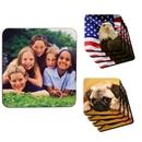 Custom Full Color Sublimation 4 Pieces Coaster Set, 3 3/4