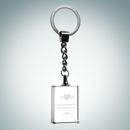 Custom Rectangle Treasure Optical Crystal Keychain, 1 3/8