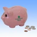 Custom Ceramic Piggy Bank - Pink - Screen Imprinted, 6