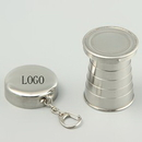 Custom keychain with Portable Stainless Steel Retractable Collapsible Folding Cup, 3.3