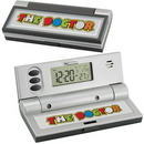 Custom SpectraprintTravel Alarm Clock (Black/Silver), 1 3/4