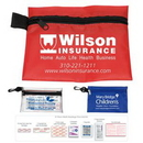 Custom 31 Piece Multi-Bandage First Aid Kit In Supersized Zipper Pouch With Plastic Hook, 7 1/2
