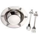 Custom Silver Plated Bear 3 Piece Baby Feeding Set (Bowl/ Fork/ Spoon)
