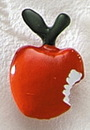 Custom Painted Large Apple with Bite Cast Lapel Pin