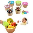 Custom Plastic Colorful Double Ice-cream Bowl& Spoon Set, 3 17/20