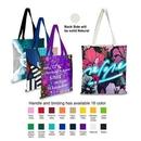 Custom One Side Imprint 5oz Cotton Color Accent Handle Tote Bag, 15