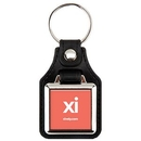 Custom Square Metal Printed Silver Tone Key Tags with Leather Back, 1.50
