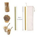 Custom Reusable Bamboo Drinking Straw W/ Cotton Pouch, 7 1/2