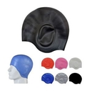 Custom Silicone Swim Caps w/Ear Pouches for Long Hair, 8.9