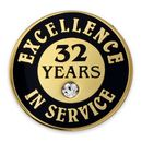 Custom Excellence In Service Pin - 32 Years, 3/4