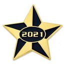 Custom 2021 Blue and Gold Star Pin, 1