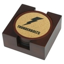 Custom Wooden Coaster Set - Wooden Coaster Set With Cork Inserts, 4 1/2