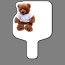 Custom Hand Held Fan W/ Full Color Stuffed Teddy Bear, 7 1/2