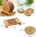 Custom Bamboo Coaster Set, 3 3/4