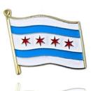 Custom Chicago City Flag Lapel Pin, 1