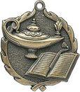 Custom Sculptured Lamp Of Knowledge Medal 1.75