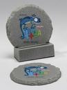 Custom 2-Piece Round Chiseled Edge Coaster Set w/Base, 4
