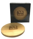 4 Piece Round Bamboo Coaster Gift Set
