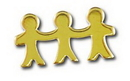 Blank Three People Holding Hands Lapel Pin