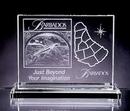 Custom Horizontal Rectangle Award - Starfire Glass (5 1/2