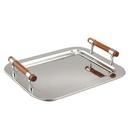 Custom Medium Rectangular Tray W/ Wood Handle, 16.5