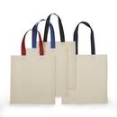 Custom Economical Cotton Tote Bag Natural Beige Body w/ Color Handles, 15