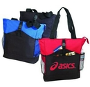 Custom All Purpose Poly Zipper Tote Bag w/ Buckle Front & Side Mesh Pocket