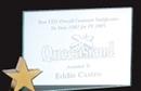 Custom Jade Glass Achievement Award - w/ Brass Star - Large