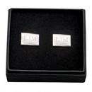 Custom Silver Plated Rectangle Cuff Links, 3/4
