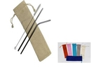 Custom 2 silver Stainless Steel Straw With 1 Cleaning Brush with a linen pouch,FREE SHIPPING!, 8.5