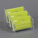 Custom Clear Acrylic Business Card Holder, 3-Pocket, 3 3/4