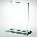 Custom Small Jade Glass Vertical Plaque w/ Base Award (5