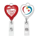 Custom Jumbo Heart Badge Reel w/Lanyard Attachment(Label), 1.54